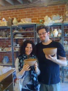 Hillary and Asaf doing the Pottery